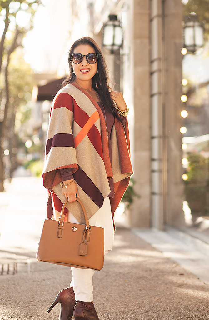 cute & little blog | petite fashion | plaid cape, marsala top, white jeans, marsala boots, tory burch mini robinson | fall winter outfit