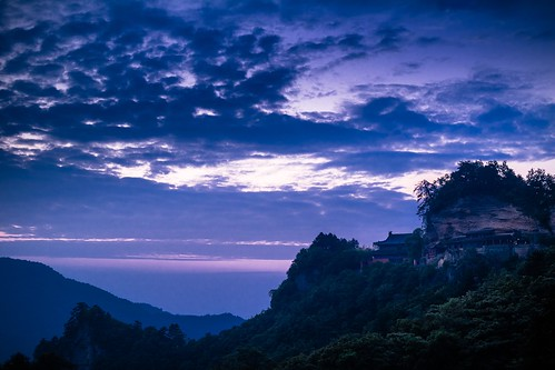 china travel blue sunset sky cliff mountain tourism nature fog architecture clouds forest sunrise temple amazing gate purple religion north unesco believe henan wushu boxing wuhan wudangshan daoist hubei hongyan wudang daoism kongfu hangng