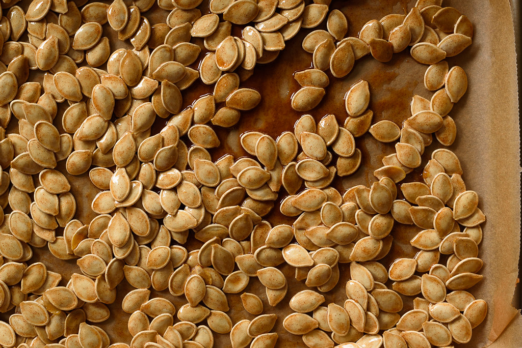 Sweet and Salty Roasted Brown Sugar Pumpkin Seeds via forkknifeswoon.com