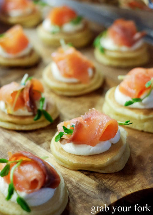 Smoked salmon blinis at the Sydney Food Bloggers Christmas Party 2015 #sydfbxmas2015