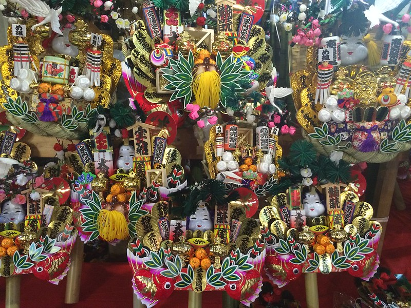Decorated rakes at Tori-no-ichi Festival in Asakusa.