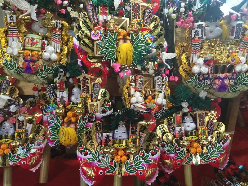 Decorated rakes at Tori-no-ichi Festival in Asakusa.
