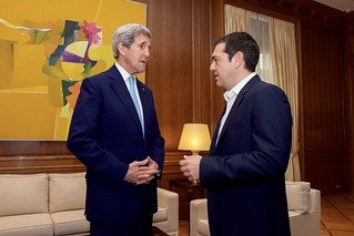 Secretary Kerry is Greeted by Greek Prime Minister Tsipras Before Their Meeting in Athens