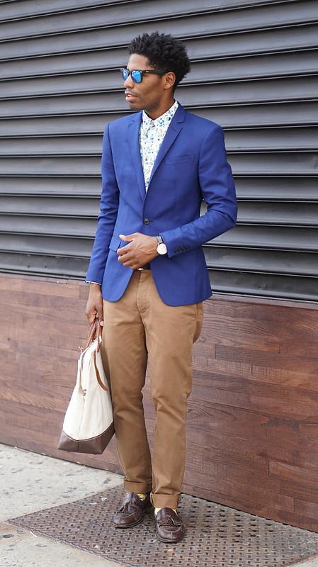 Blue Blazer, Floral Shirt, Chinos Mirrored Shades - Style Society Gu