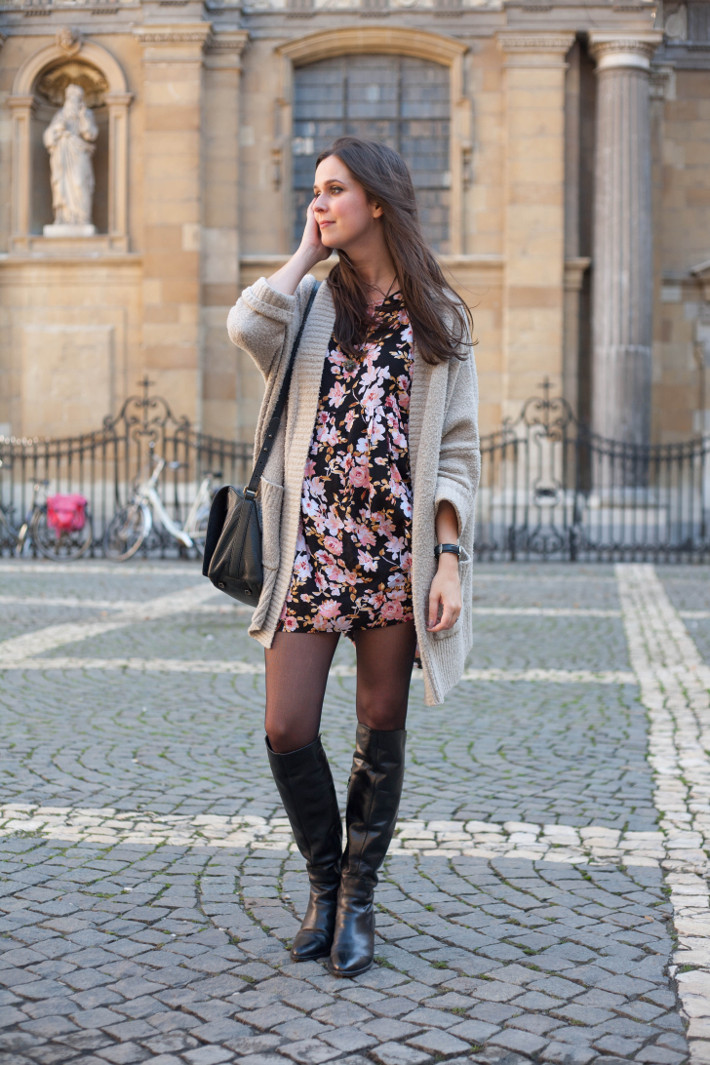 Outfit: Floral babydoll dress and over knee boots