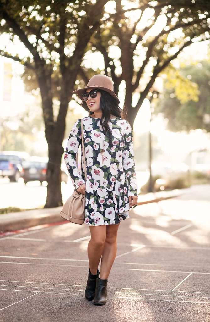 cute & little blog | petite fashion | green floral fall dress, ankle boots, bucket bag, floppy felt hat | fall outfit