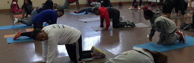 Students at Benton Harbor excercising