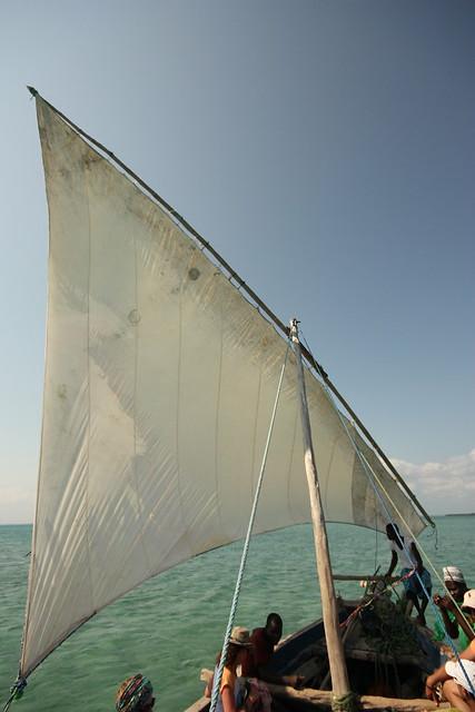 Dhow under sail, Menai Bay