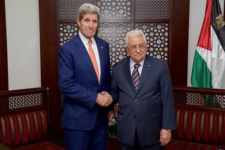 Palestinian Authority President Abbas Greets Secretary Kerry Before Their Meeting in Ramallah