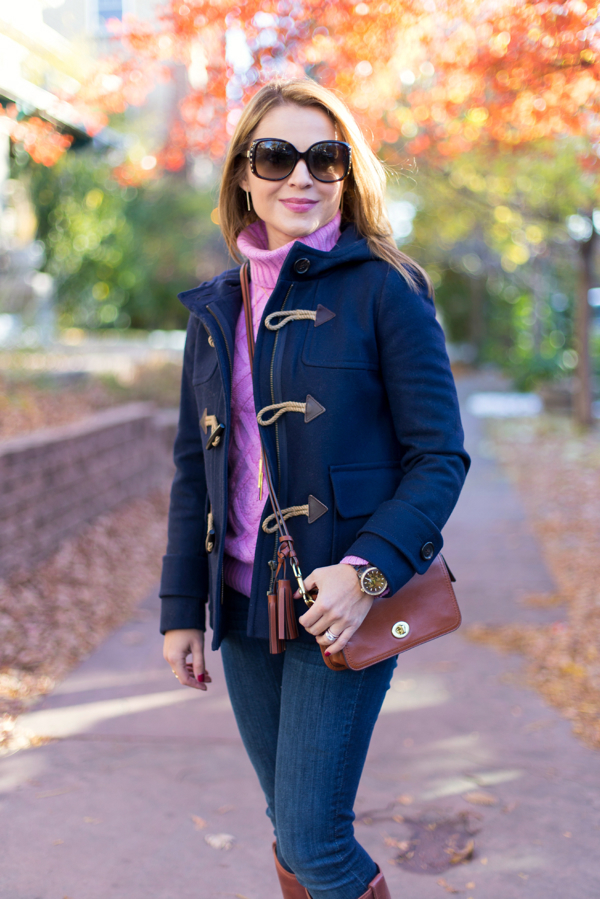JCrew Cable Turtleneck + Toggle Coat