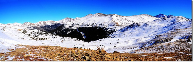 Overlooking east onto Loveland Pass East Ridge from 12,414' Point 1