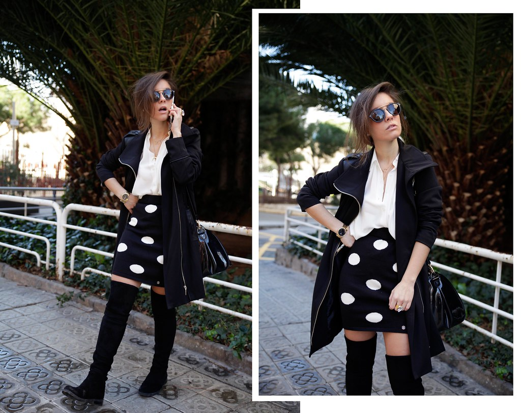 03_skirt_dots_black_and_white_outfit_theguestgirl_ruga_shop_online_long_boots