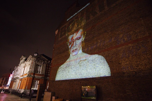 David Bowie projection in Brixton