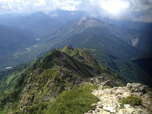 西穂高岳 山頂から振り返り