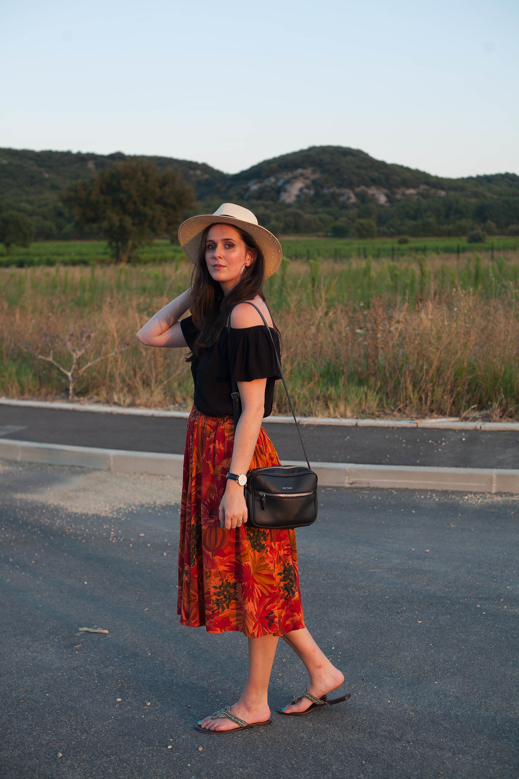 Outfit: off shoulder top in the sunset