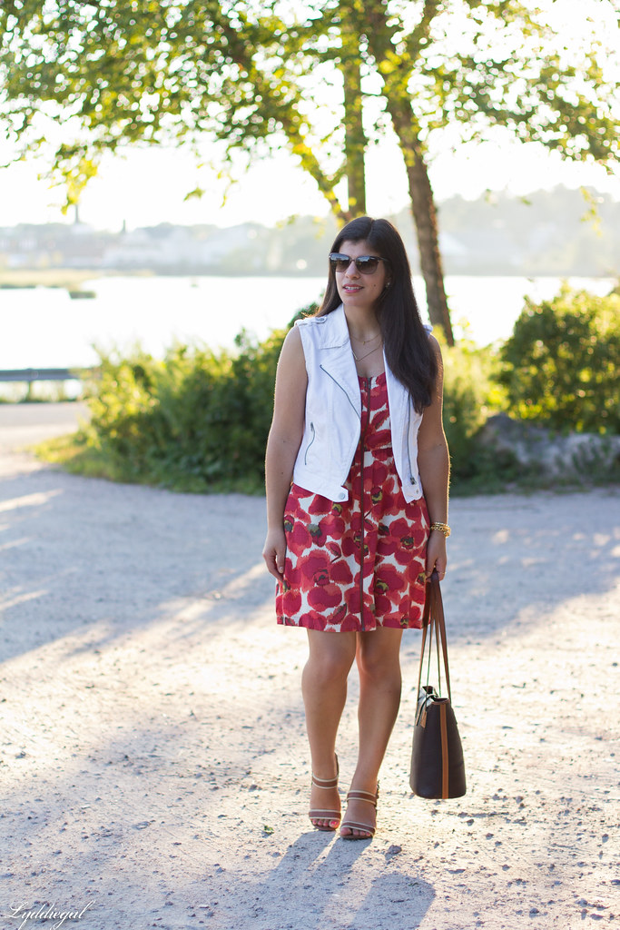 poppy print dress, white denim vest, dooney burke tote.jpg