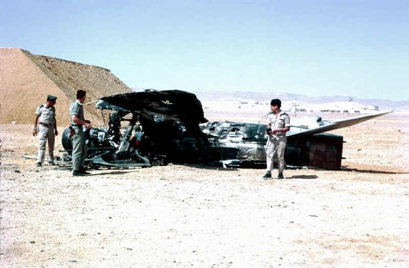 Israeli troops examine destroyed Egyptian aircraft during Six-Day War