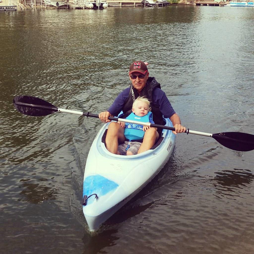 Grandpa Larry and Titus in kayak