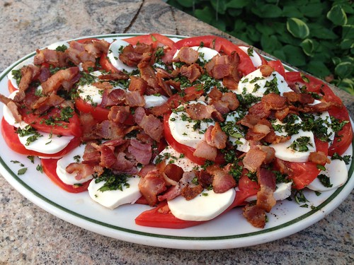 Caprese with warm bacon dressing