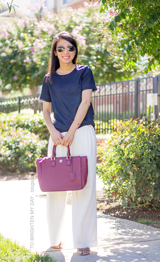navy tee, white trousers, bow sandals, purple red tote