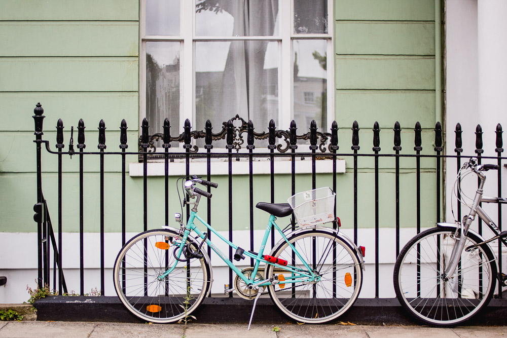 primrose hill london green house and bicycles