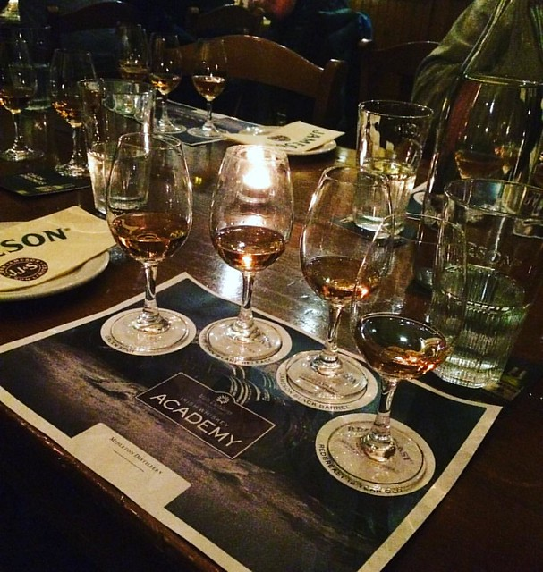 #latergram of the class tour of #jamesondistillery. We sat down to a unique four course pairing of whiskey and canapés. So many nummy nibbles. We all walked a way with a gratis bottle of their newest creation Jameson Caskmates which is whiskey aged in Mur
