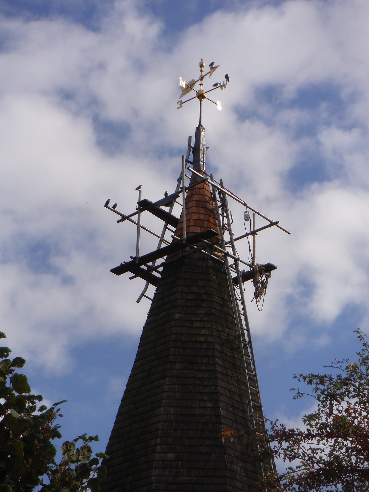 Church Spire under Scaffolding for Re-Leading SWC Walk 114 Laindon Circular