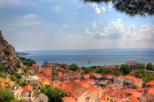 street old city travel roof sea summer people mountain color building tree rock digital port canon eos boat town high nice colorful ship view hill croatia calm fortress cetina omis 70d