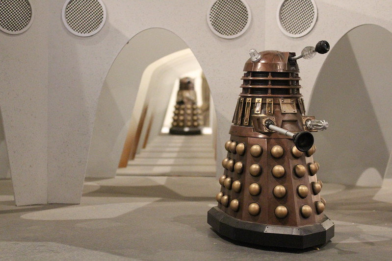 Doctor Who Festival Sydney: miniature Dalek props in a Dalek city