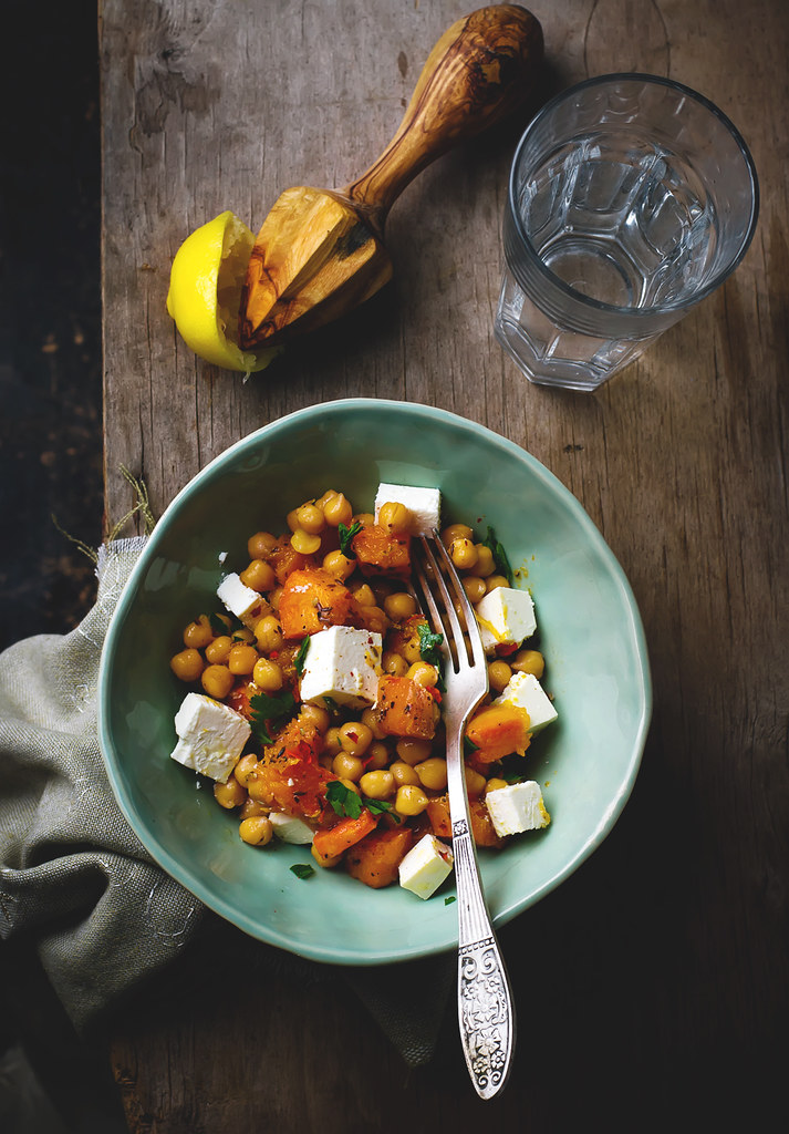 salad with pumpkin, cheackpea and feta.