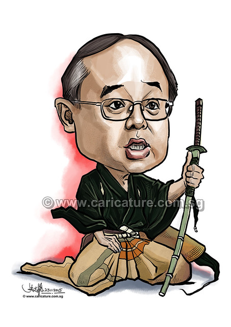 Samurai digital caricature for Mastercard(watermarked)