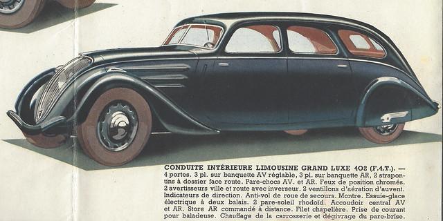 Conduite Intérieure Limousine Grand Luxe 402 F4T - Peugeot Folder 1938
