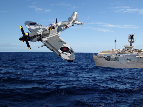 Supermarine Seafire and Lego Bogue class Escort Carrier