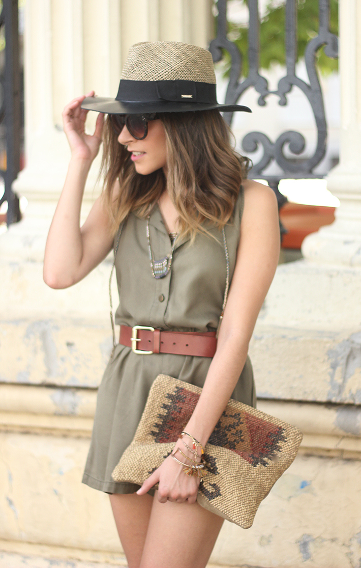 Khaki Jumpsuit Hat Clutch Summer Outfit 13