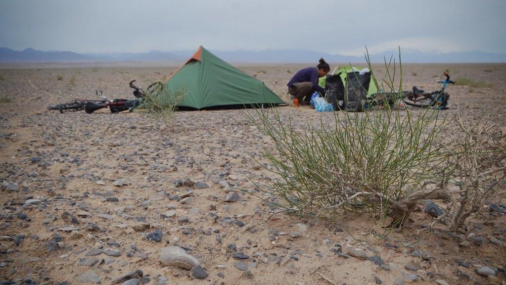 Camping in the Taklamakan desert