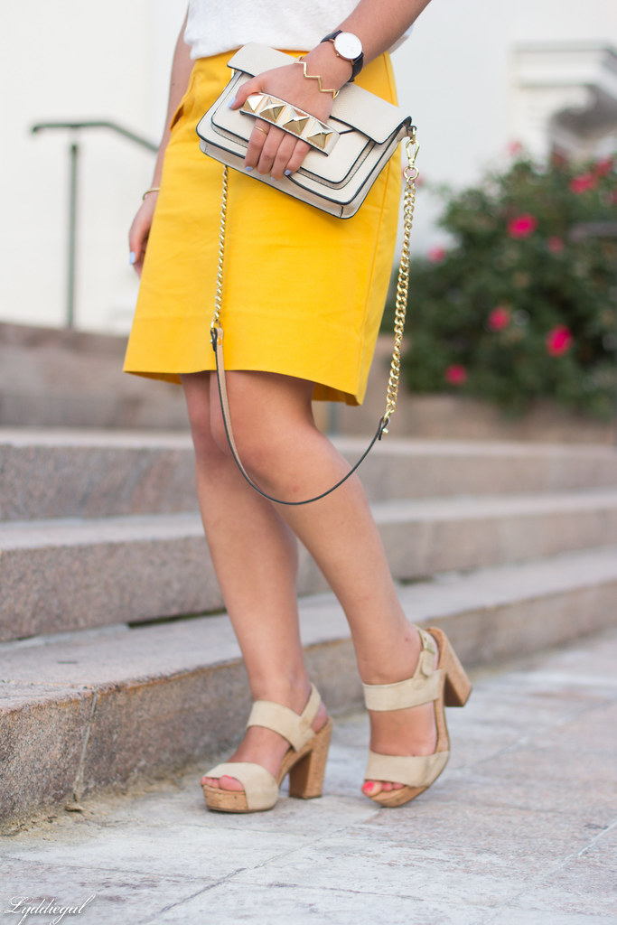 ampersand tee, yellow pencil skirt, studded bag-4.jpg
