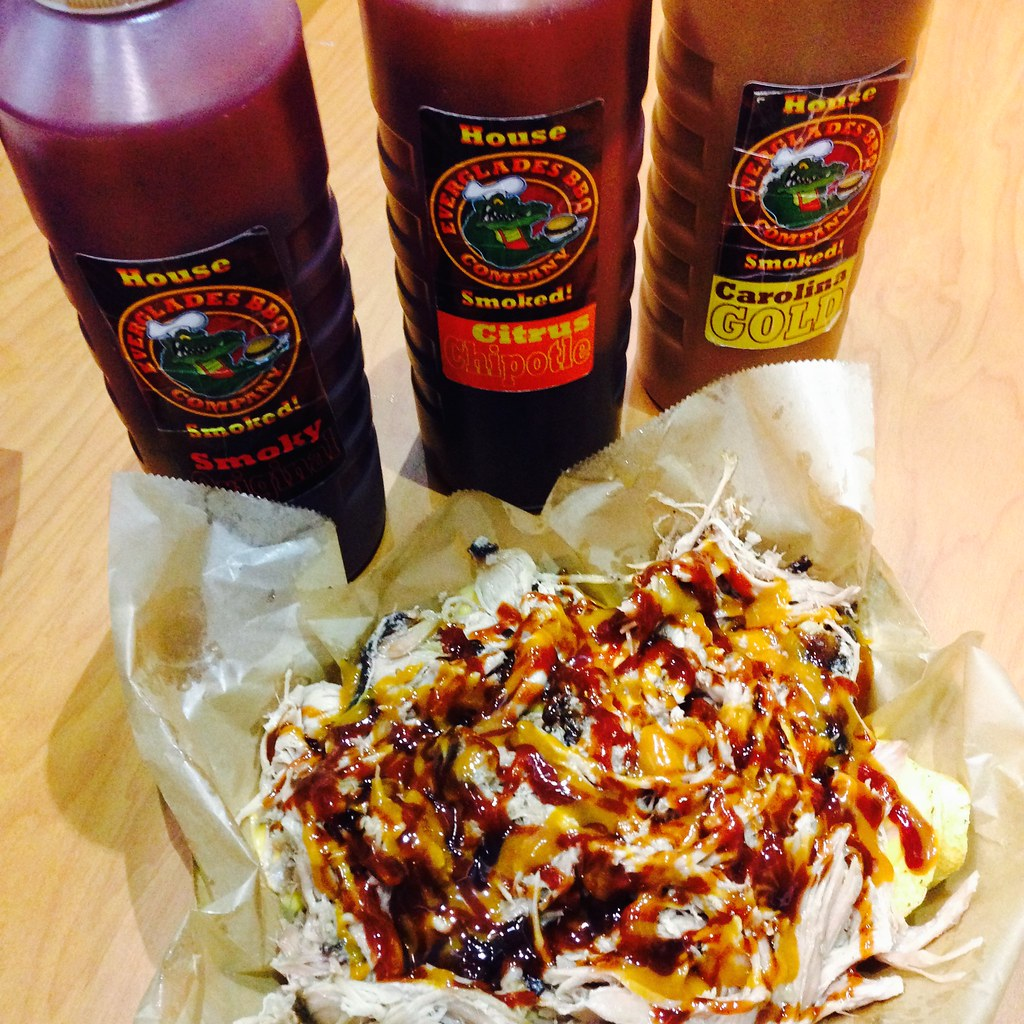 Pulled pork nachos and three types of BBQ sauce - so good, I didn't try anything else