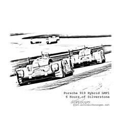 Porsche 919 Hybrid LMP1- 6 Hours of Silverstone by www.autozeichnungen.net