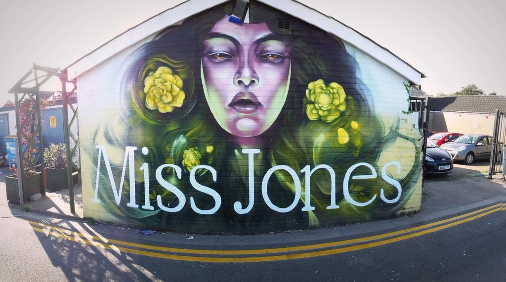Rmer street art on Miss Jones, Cardiff