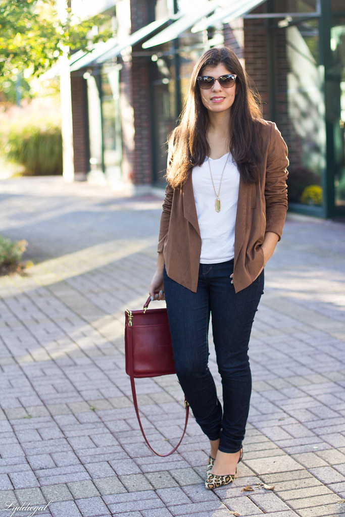 brown suede jacket, white tee, denim, leopard pumps.jpg