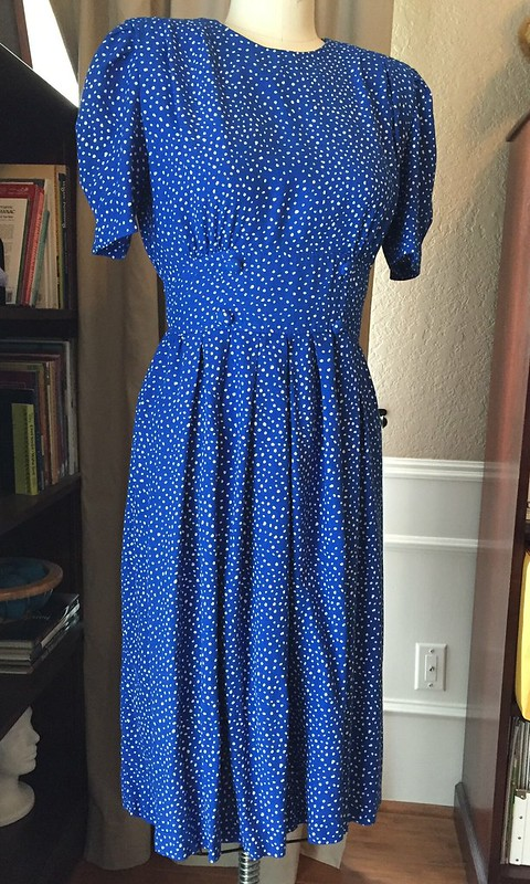 Blue Polka Dot Dress - Before