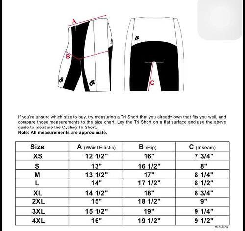 三鐵褲男版Size表