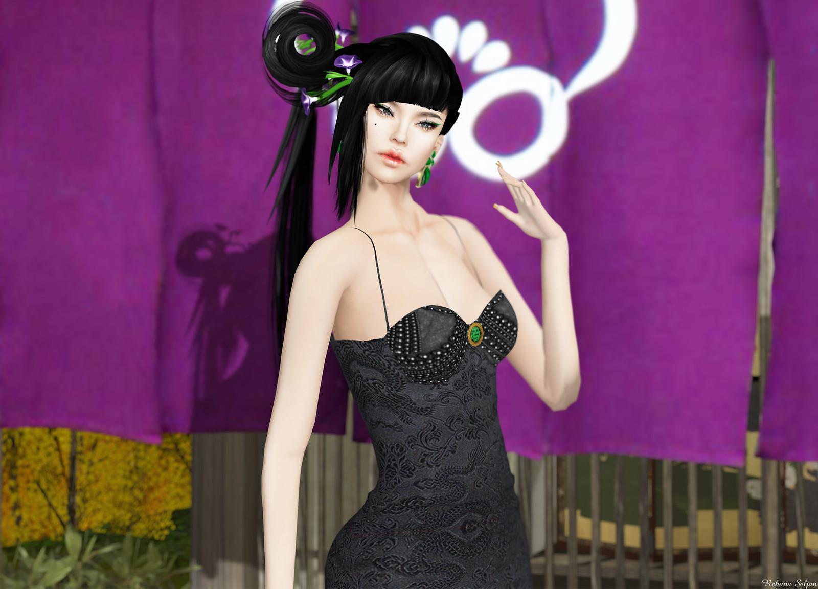 Glam Dreams - Black Asian Corset Dress