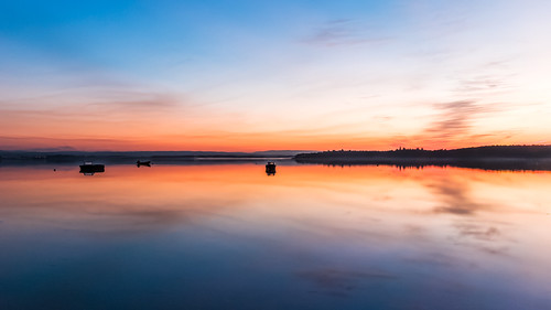 sunset boats bay scotland colours unitedkingdom olympus moray e5 findhorn