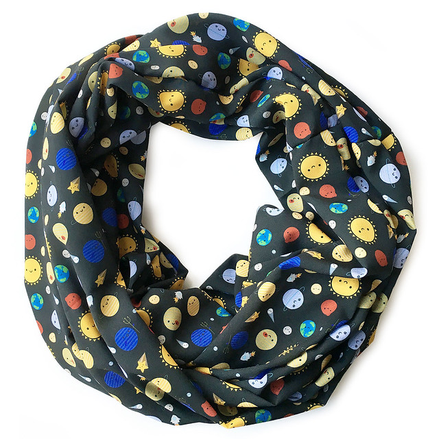 Made two Solar System infinity scarves and it was so easy! The other one will be up on Etsy this weekend.