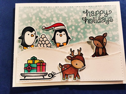 Penguin and reindeer card