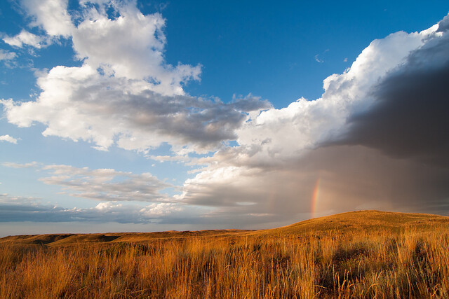 Rainbow over Grassland, Wyoming