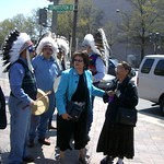 100 Years at the Arvada Center - Eloise Cobell (Center) and other tribal members gather in support of the court proceedings