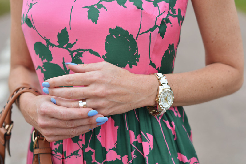 Boden pink/green floral dress, blue manicure