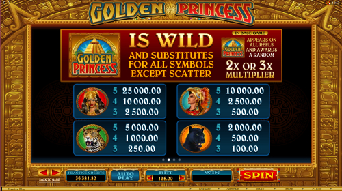 Golden Princess Slots Payout Table